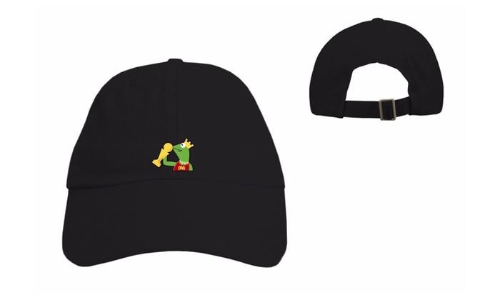 Kermit None My Business Meme Dad Hat Sipping Trophy/ LBJ 54425 Black
