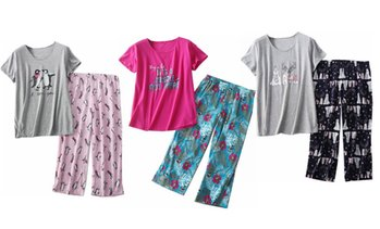 Women Summer Pajama Set Tops Capri Pants Casual with Fun Prints