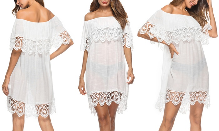 c92c4fe1a3bd3 Women Bathing Suit Cover Up Cold Shoulder Lace Crochet Swimwear Dress