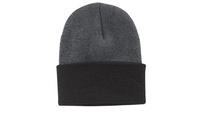 Port   Company CP90 Knit Cap Athletic Oxford   Black - One Size ... 430cdfa770f