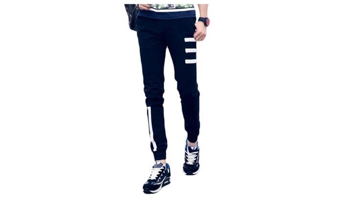 Men's Casual Zipper Slim Fit Low Rise Long Pants - Black / One Size