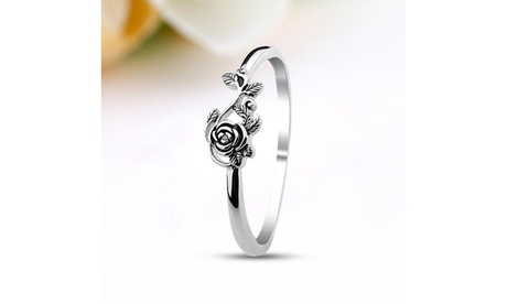 Ladies 925 Sterling Silver White Gold Color Rose Ring
