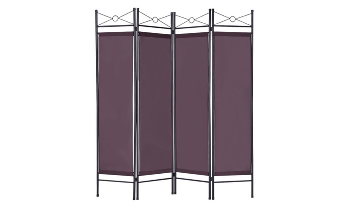 Costway 4 Panel Room Divider Privacy Screen Home Office Brown Groupon