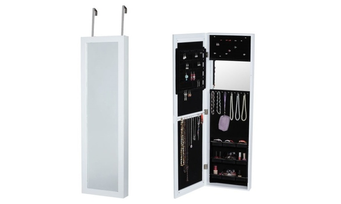 Incroyable Over Door Wall Hang Makeup Jewelry Organizational Wood Armoire Mirror