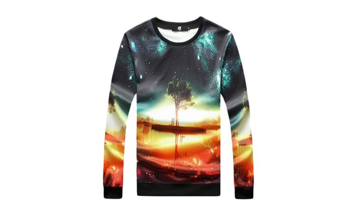 Men's Printed Casual Floral Printed Slim Fit Sweatshirt - As Picture / One Size