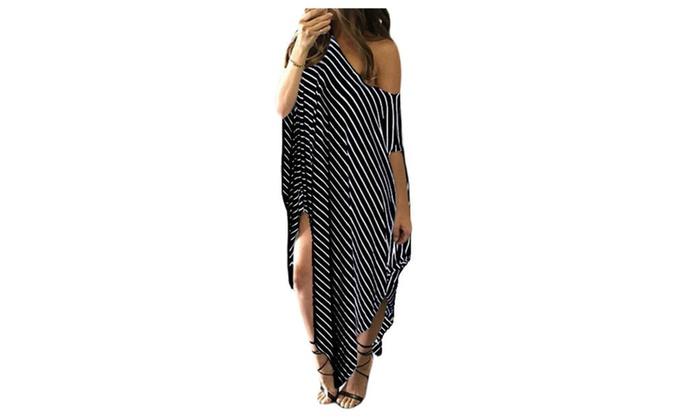 Women's Black Skew Neck Off-shoulder Striped Asymmetric Hem Maxi Dress - one size