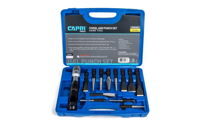 Capri Tools Chisel and Punch Set with Removable Handle, Black, 13 Piece
