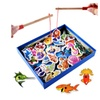 Fish Wooden Magnetic Fishing Toy Set Game Baby Educational Toys Gift