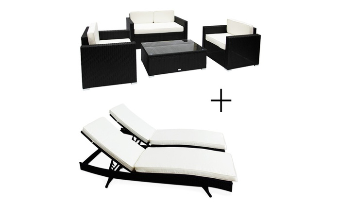 Astonishing Kinbor New Rattan Patio Furniture 6 Pcs Sofa Set Chaise Unemploymentrelief Wooden Chair Designs For Living Room Unemploymentrelieforg