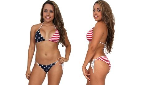 46a6dea607 Women's Juniors USA Flag 2-Piece Bikini Swimwear photo