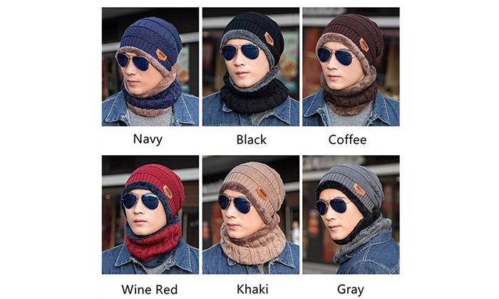 54eb999f14a 2Pcs Winter Beanie Hat Scarf Set Warm Balaclava Hoods Skull Cap For Men  Women