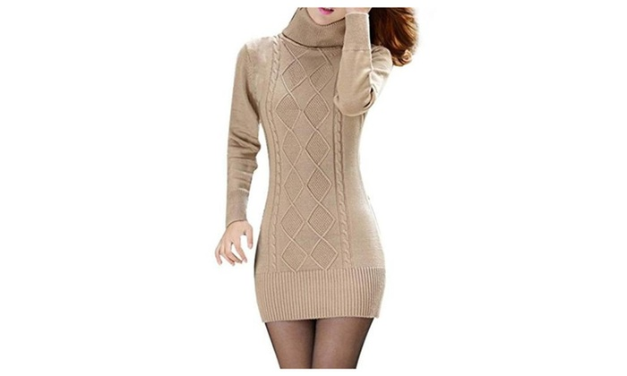 Casual Womens Long Sleeve Knit Pack Hip Sweater Dress