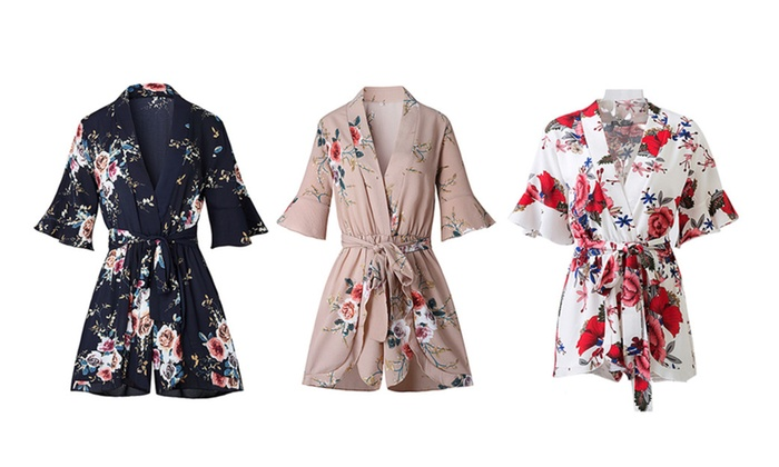 Floral Print Playsuits Elegant V Neck Jumpsuits Rompers Sexy Dress