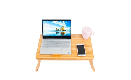 Wood Color Smooth Adjustable Computer Desk with Cup Stand - fe22a550-8038-4299-8624-d25bd38a2661