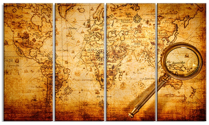 Magnifying glass on world map digital canvas art print groupon magnifying glass on world map digital canvas art print gumiabroncs Images