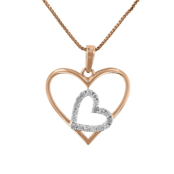 11de0743583cf3 Sterling Silver 0.25ct TDW Round Diamond Double Heart Pendant Necklace  (I-J,I3)