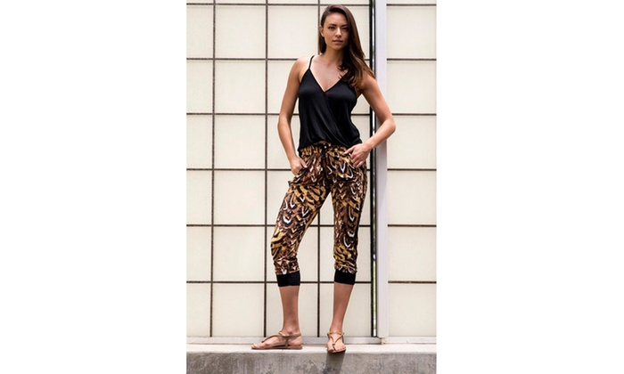 Cheetah Feather Printed Joggers