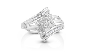 Diamond Accent Marquise Cluster Fashion Ring in Sterling Silver