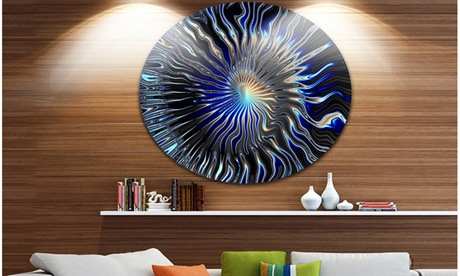 Blue Rays from the Circle' Abstract Circle Metal Wall Art f5033f3c-5806-49e2-9a3f-0aff976470f6