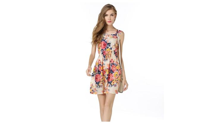 Women' Summer Dress Code Printed Skirt Sleeveless Floral Mini Dress