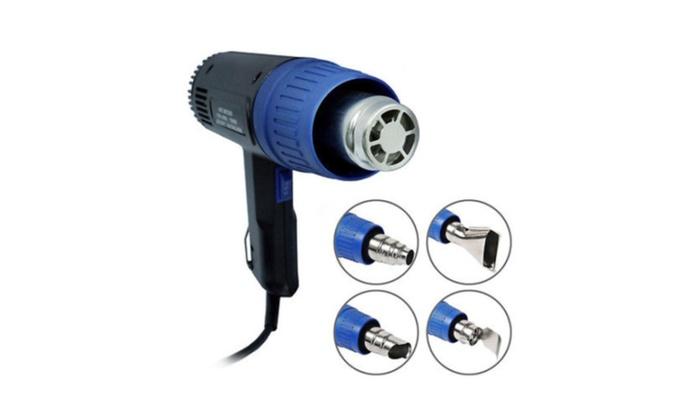 New Heat Gun Hot Air Gun Dual Temperature + 4 Nozzles Power Tool 1500W