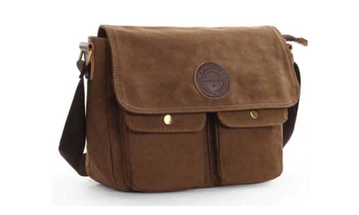 Men s Canvas Messenger Shoulder Crossbody Bag Book Bags School ... a985e47579607