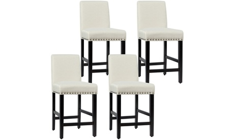 Costway 4PCS Upholstered Counter Stools Bar Stool Home Kitchen w/ Wooden