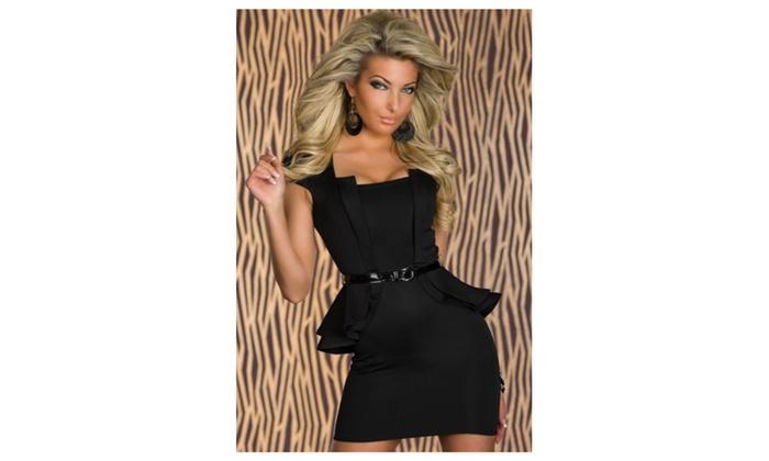 Women's Belt Fastening Short Sleeves Dress - KMWD123-KMWD122-KMWD121