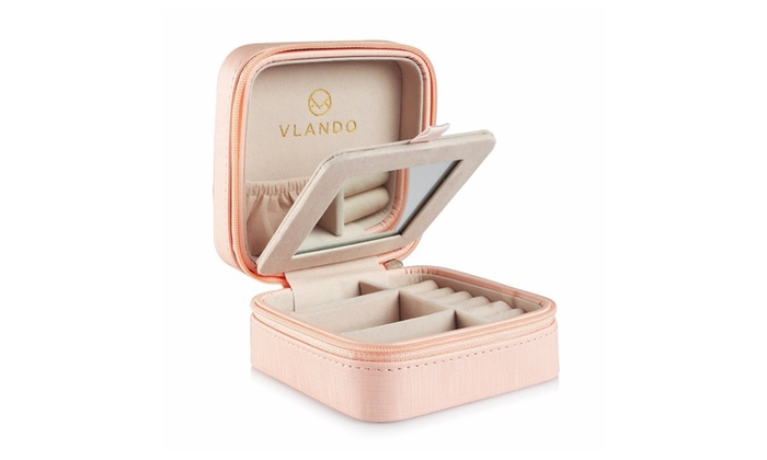 Vlando Small Portable Travel Jewelry Box Pink Groupon