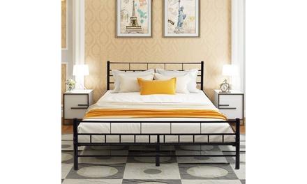 Queen Wood Bedroom Furniture Wood Slats Metal Bed Frame and Headboard Was: $220 Now: $99.99.