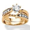 2 Piece .86 TCW Round Cubic Zirconia Twist Bridal Ring Set