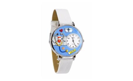 Whimsical Nurse Blue White Skin Leather And Silvertone Watch 7fe1e918-22d9-444e-96d6-c37e4d6be32e