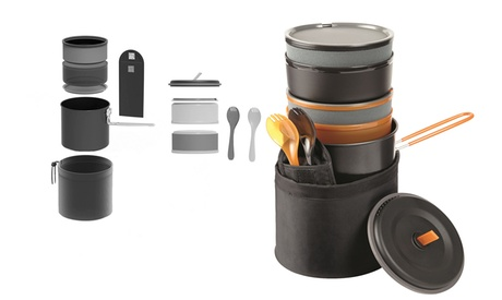 10 Piece Dishwasher Safe Easy Storing Cook Set for Camping