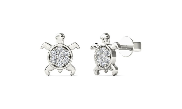 10k White Gold Natural Diamond Accent Sea Turtle Stud Earrings