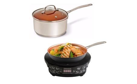 NuWave 3qt Duralon Ceramic Non-stick Saucepan w/PIC Cooktop & fry-pan 45742e9c-563a-4687-b4ac-1209a5bc13cc