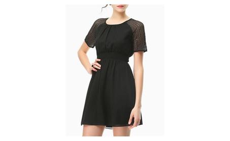 Women's Short Sleeve Patchwork Basic Mini Tunic Shift Dress 9b50292e-bde3-4fb9-a55e-d44d6070275c
