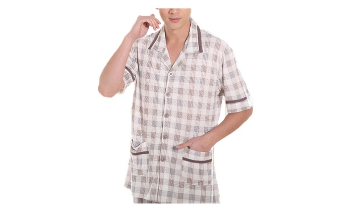 Men's Checkers Long Short Sleeve Loose Buttons Up Pajamas Set