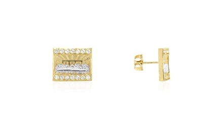 10k Yellow /& White Gold Round Diamond Cut The Last Supper Pushback Stud earrings
