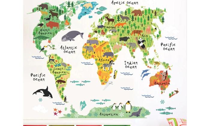 ... World Map Kids Room Decor Wall Sticker