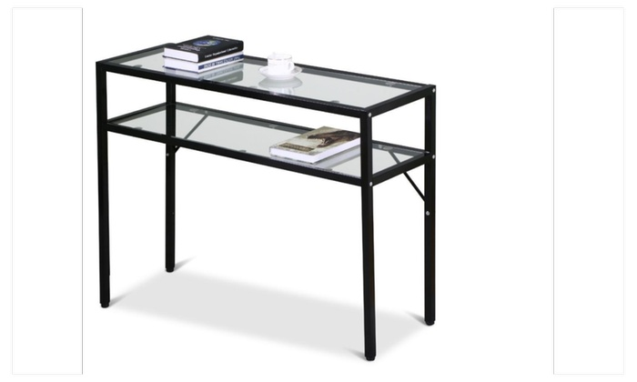 Modern Glass Top Console Table Storage Shelf Black Metal Frame ...
