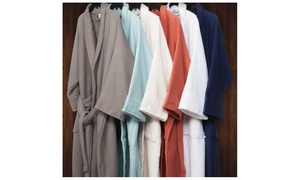 Cotton Terry Waffle Weave Bathrobe for Men and Women
