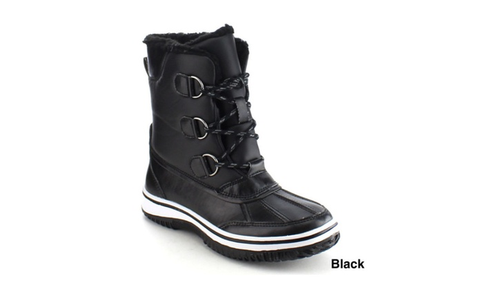Beston Women FROST-04 Stitching Lace Up Winter Snow Ankle Boots