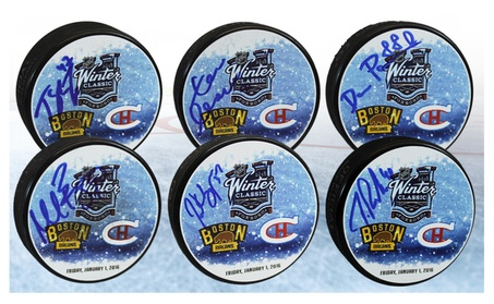 Boston Bruins Signed Autographed 2016 Winter Classic Hockey Pucks 4d6bc29f-a41d-4a06-9ab2-fe7476be3b0e