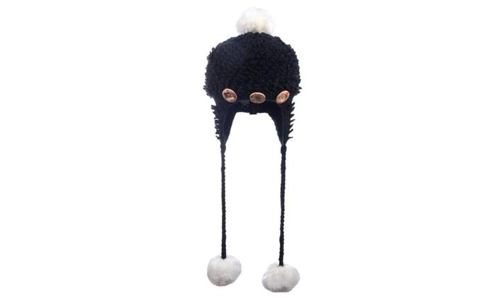 Women's Warm Winter Ear Flap Hats High Quality One Size Black