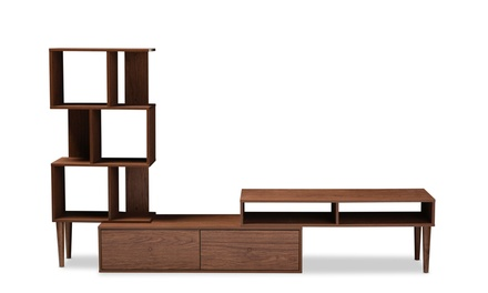 Winchester Mid-Century Modern Walnut Wood TV Stand and Display Unit