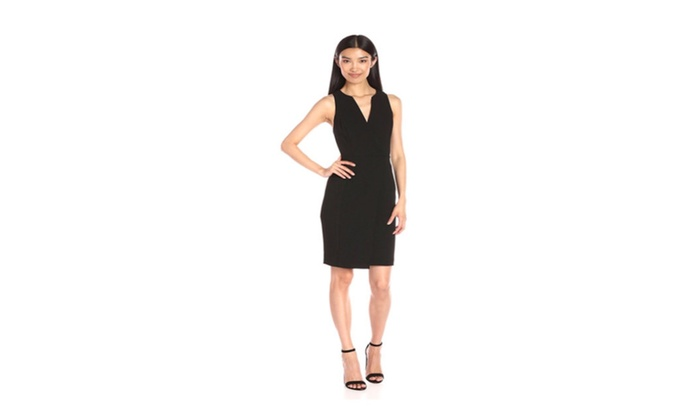 Bcbg Generation Womens Faux Wrap Sheath Black Dress Size 10 Groupon