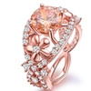 18K Rose Gold Floral Champagne Cubic Zirconia Ring by Barzel