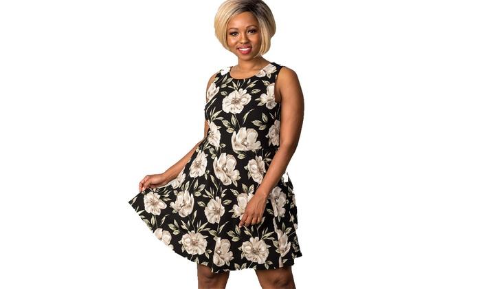 Plus size black & beige floral cross back plus size mini midi dress ...