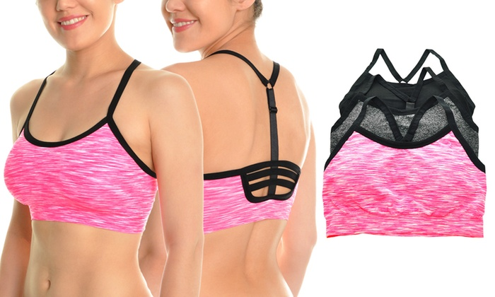 7269f83472c40 Angelina Seamless Sports Bra with Adjustable Y Strappy Back (3-Pack)