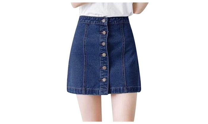 Womens Denim Short Skirt Jean Button-Front Jean Skirt Mini Skirt